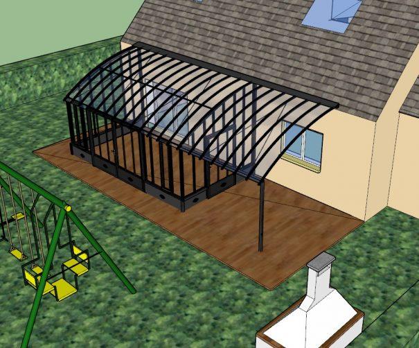Serre de charme avec pergola et soubassement - Structure aluminium - Castille Soubassement (Vue 2)