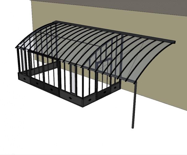Serre de charme avec pergola et soubassement - Structure aluminium - Castille Soubassement (Vue 3)