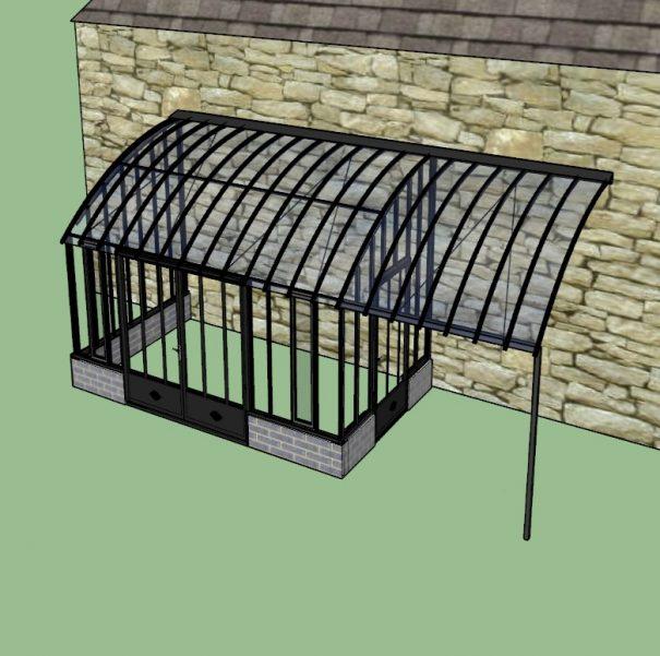 Serre à l'ancienne avec pergola et sur muret - Structure aluminium - Castille Sur Muret (Vue 2)