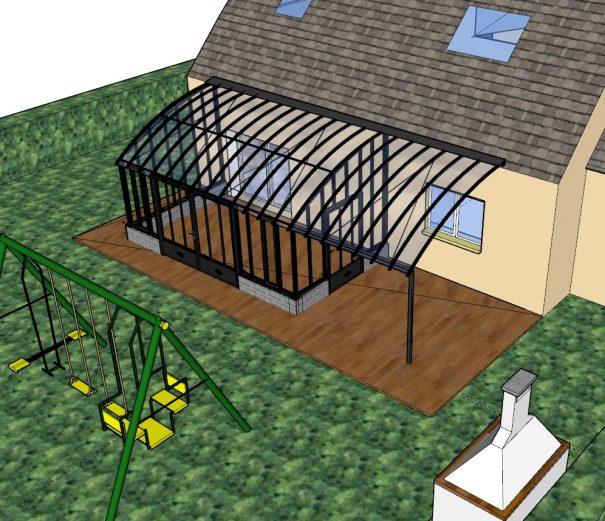 Serre à l'ancienne avec pergola et sur muret - Structure aluminium - Castille Sur Muret (Vue 1)
