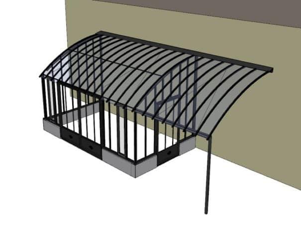 Serre à l'ancienne avec pergola et sur muret - Structure aluminium - Castille Sur Muret (Vue 0)