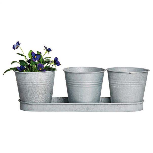3 pots de fleurs avec soucoupe en zinc patiné (Vue 1)