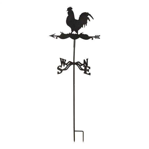 Girouette coq en métal à planter // support latéral (Vue 2)