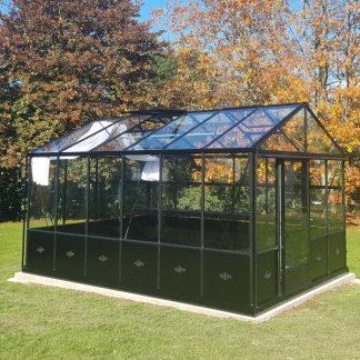 Serre de jardin victorienne autonome soubassement - Structure aluminium - Euro Maxi Retro Victorian (Vue 0)