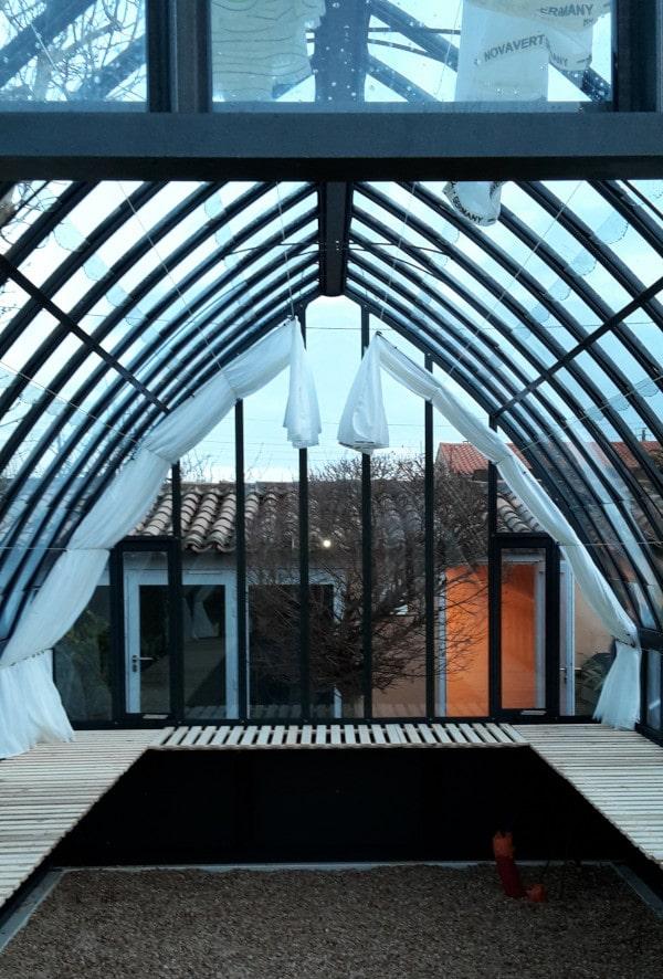 Serre à l'ancienne style fer forgé avec soubassement - Structure aluminium - Eugénie Soubassement (Vue 4)
