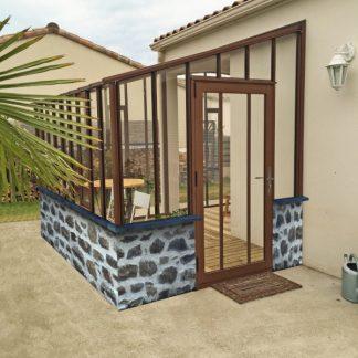 Serre de jardin à l'ancienne adossée sur muret - Structure aluminium - Hortense sur Muret (Vue 0)