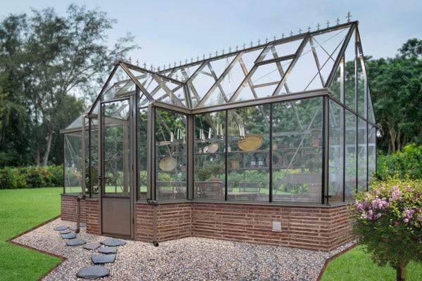 Pavillon de culture au style victorien sur muret - Structure aluminium - Victorian Mur Victorian (Vue 2)