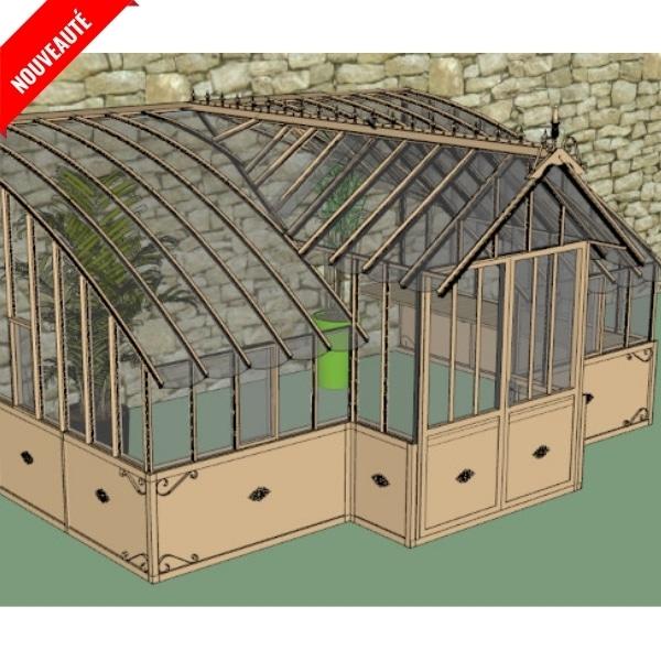 Serre de jardin à l'ancienne adossée en verre vue 0