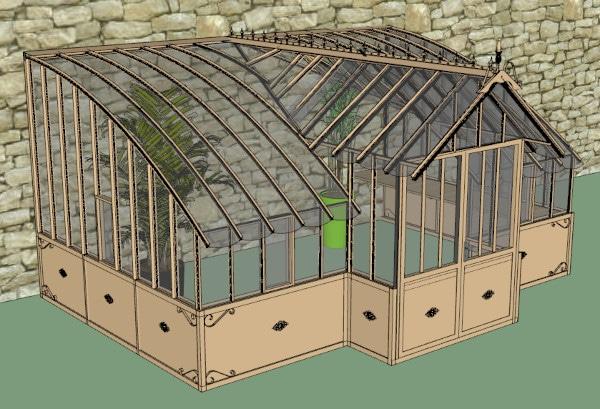 Serre de jardin à l'ancienne adossée en verre vue 1