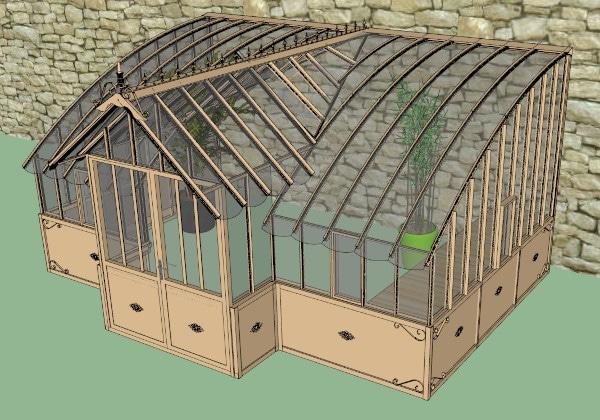 Serre de jardin à l'ancienne adossée en verre vue 2