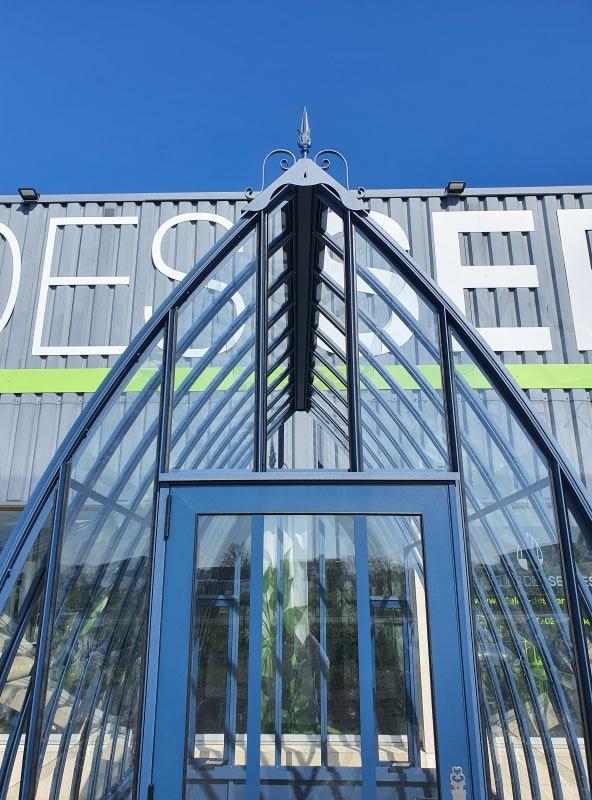 Serre d'antan soubassement double pente - Structure aluminium - Louise soubassement vue3