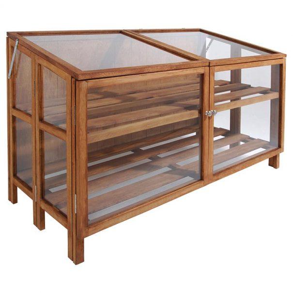 Mini serre de culture large - Structure en bois de Feuillus - Mini serre en bois large (Vue 0)