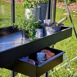 Étagère noire en aluminium avec tiroir 52x213cm (Vue 0)