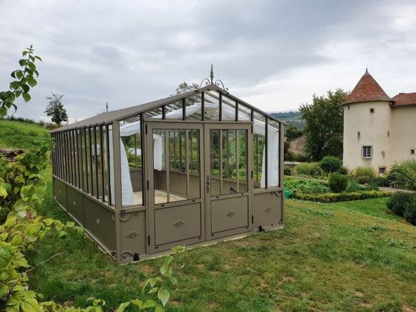 Serre d'antan soubassement double pente - Structure aluminium - Joséphine Soubassement (Vue 1)